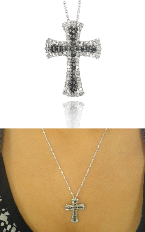 Diamond Heart And Cross Pendant Necklaces