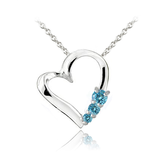 Three stone birthstone heart necklace description sterling silver aquamarine cz three stone heart necklace march aloadofball Image collections