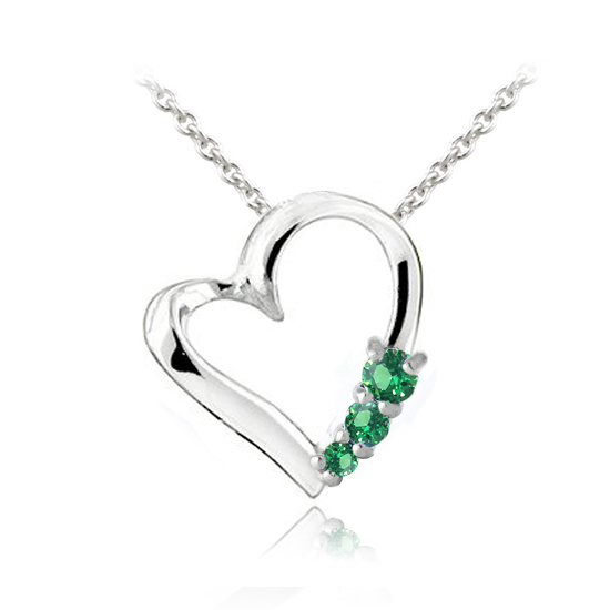 Three stone birthstone heart necklace description sterling silver created emerald three stone heart necklace may aloadofball Images