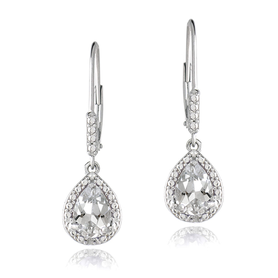 gemstone teardrop earrings with diamond accents