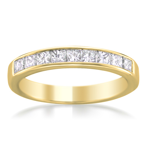 carat tdw princess cut nine stone diamond wedding band yellow gold