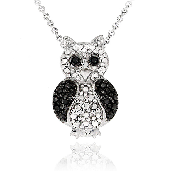 Black diamond accent animal pendants black diamond accent animal pendant owl mozeypictures Images