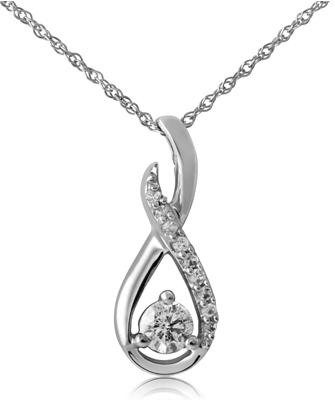 Diamond jewelry 179 for 10 karat white gold 14 carat total weight diamond infinity solitaire pendant ambcl 0216 1125 list price mozeypictures