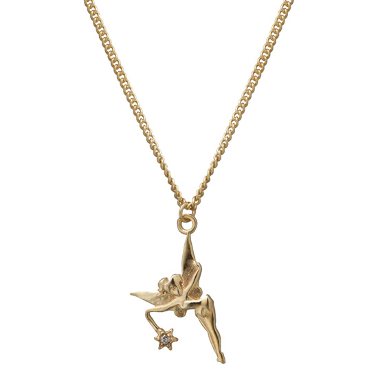Disney cubic zirconia necklaces tinkerbell gold plated pendant with cubic zirconia accent aloadofball Gallery
