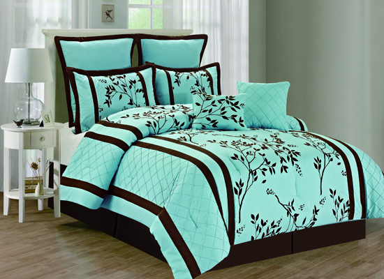 Blue And Brown Bedroom Set duck river textile eight-piece comforter sets