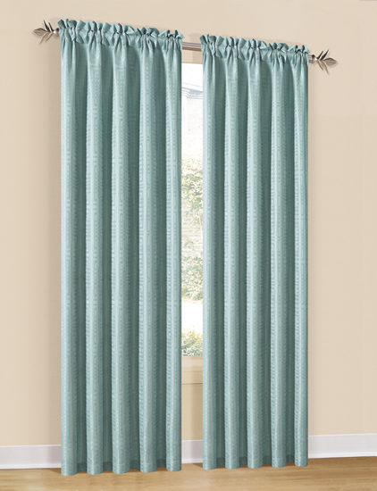Pink Ruffle Blackout Curtains Spa Blue Fabric