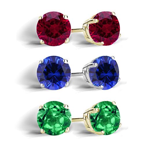 created gemstone stud earrings