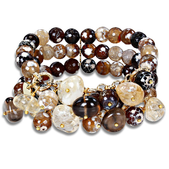 bracelet multi colored brown faceted agate beads 88 list price