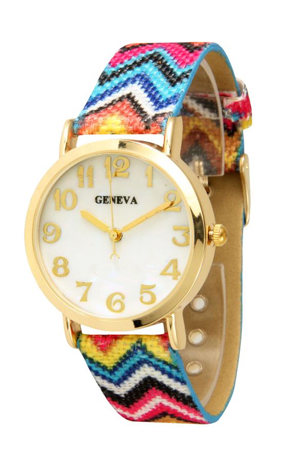 Women\'s Chevron Print Fabric Watch