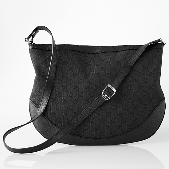 37c4f6a868dd32 Black Gucci Large Half-Moon Bag