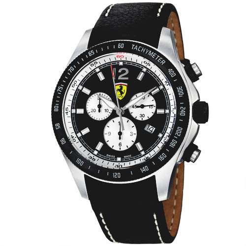 black day dial stainless ion ionplated chronograph plated ferrari s mens steel watch race men