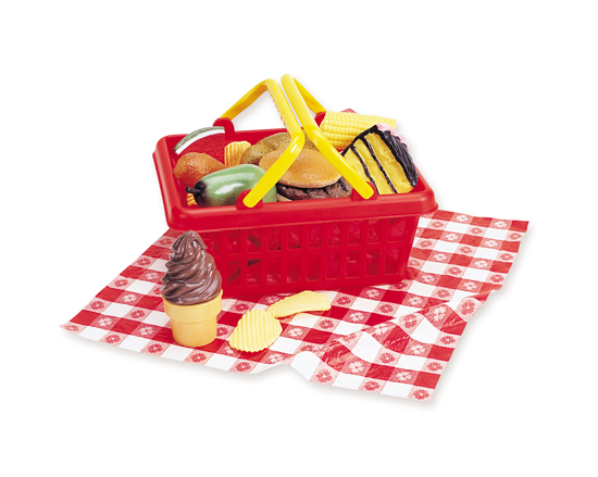 Red Plastic Picnic Basket : Pretend play toy food sets