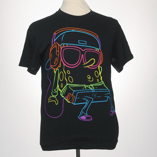 Spongebob with headphones neon t shirt