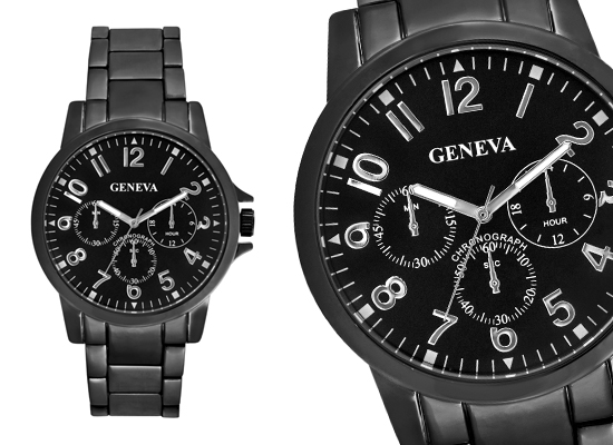 men s geneva watches 24 for a men s geneva watch black alloy band and black dial chronograph gm1083 39 99 list price