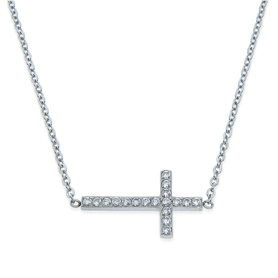 14k Gold Sideways Cross Necklace