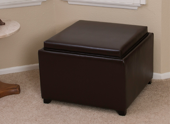 - Bonded-Leather Storage Ottomans