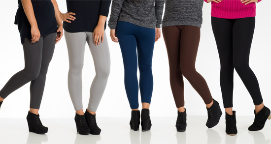 6 Pack Of Womens Fleece Lined Cable Knit Leggings