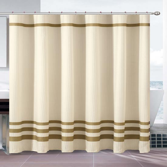 3 piece waffle knit shower curtain sets with rings and liners
