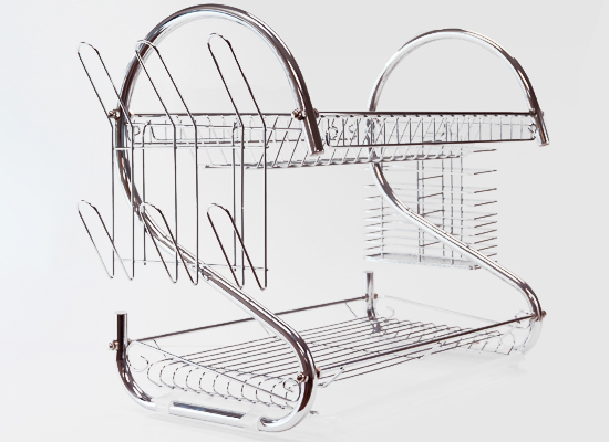 two tier chrome dish rack. Black Bedroom Furniture Sets. Home Design Ideas