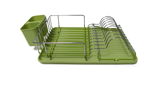 Compact Dish Rack With Colored Plastic Drainer