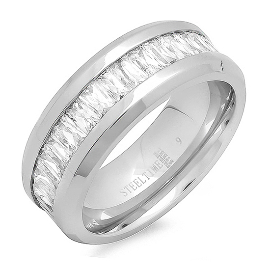 Womens Stainless Steel Engagement And Wedding Rings