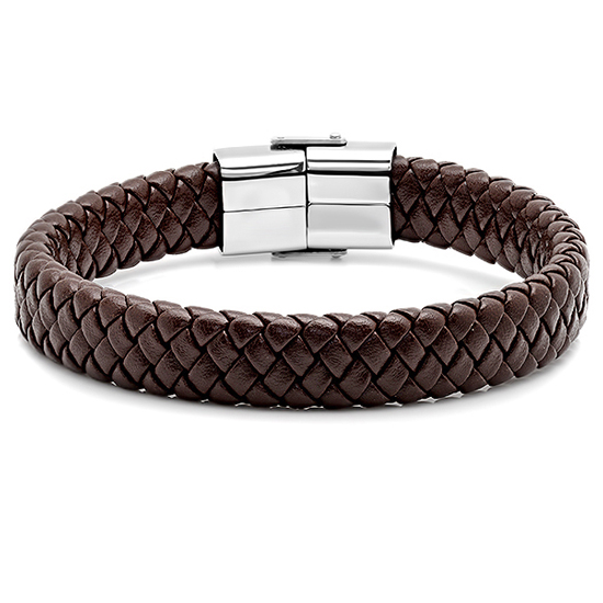 99 for Men39;s Braided Genuine Leather Bracelet in Brown with