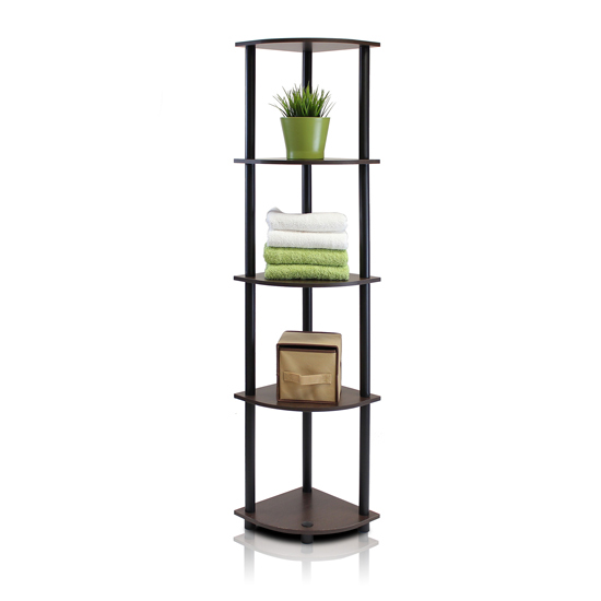 $24.99 for Corner Display Rack Multipurpose Shelving Unit - Dark Brown  Grain/Black : 99811DB-WG/BK ($64.99 List Price)