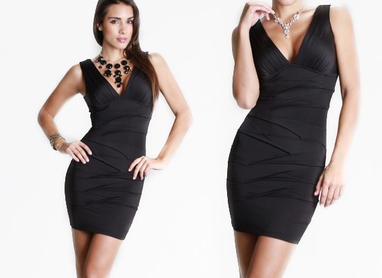Black V Neck Cocktail Dress - Ocodea.com