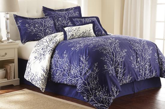 foliage design 90 gsm microfiber reversible 6piece comforter set navy ivory