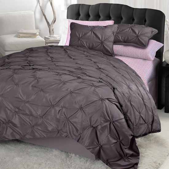 Purple and grey comforter sets pintucked diamonds in gray