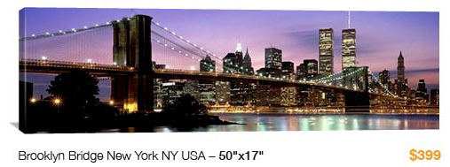 01%20NYC%20Brooklyn%20Bridge City Skyline Canvas Print, 50x17 Just $99!