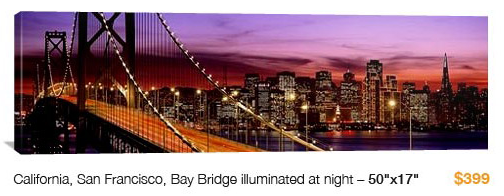 02%20san%20fran%20bay%20bridge City Skyline Canvas Print, 50x17 Just $99!