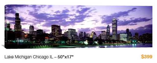 05chicago%20from%20lake%20michigan City Skyline Canvas Print, 50x17 Just $99!