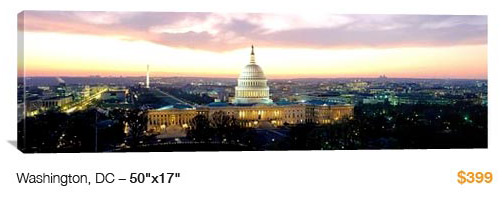 06DC City Skyline Canvas Print, 50x17 Just $99!