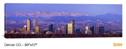 07denver%20skyline City Skyline Canvas Print, 50x17 Just $99!