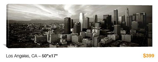 10LA City Skyline Canvas Print, 50x17 Just $99!