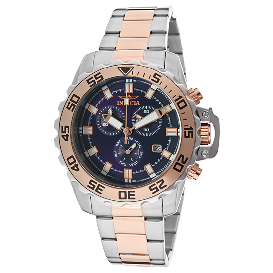 invicta men s pro diver watches 84 99 for a men s invicta pro diver chronograph select watch rose gold silver band dark blue dial invicta 13629 595 00 list price