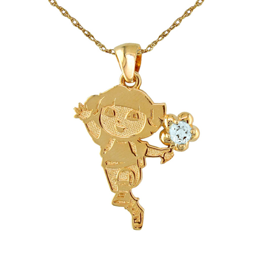 Dora and mickey birthstone necklaces dora birthstone necklace in aquamarine march mozeypictures Choice Image