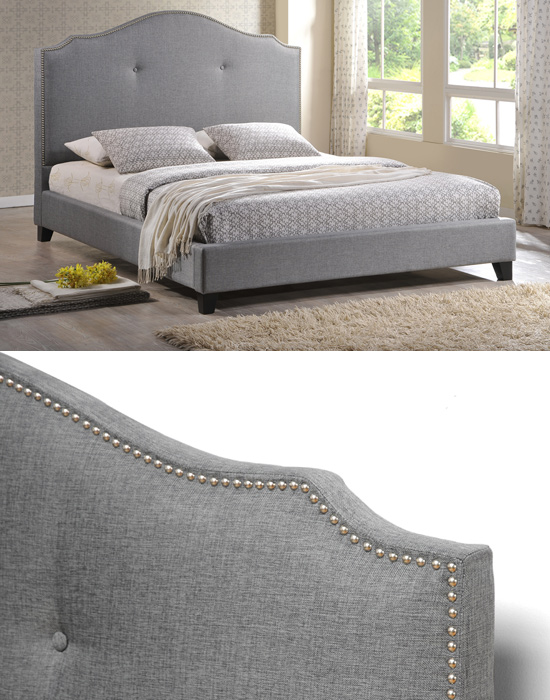 $599 For A Marsha Scalloped Gray Modern Linen Bed With Upholstered Headboard  (King) ($1,199 List Price)