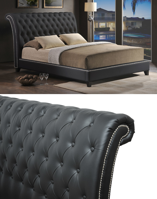 699 for a jazmin tufted black modern bed with upholstered headboard king list price - Upholstered Headboard King