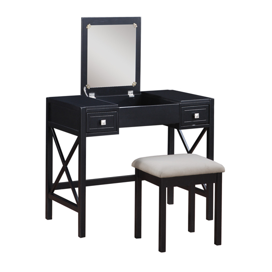 Two piece vanity sets - Black and white vanity stool ...