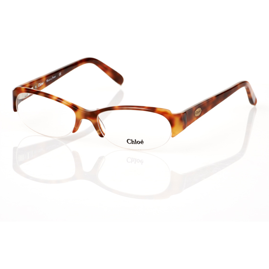 Tortoise Shell Glasses Half Frame : Chloe Women s Optical Frames