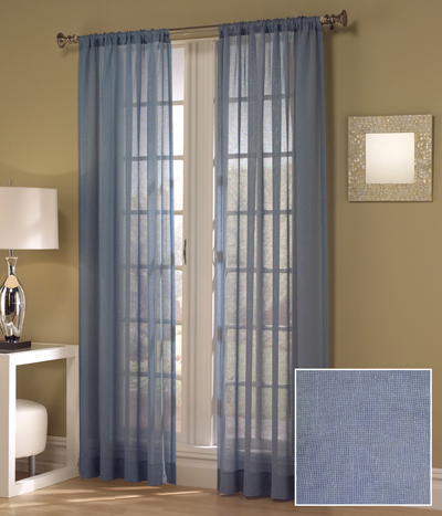 Sheer Lily Window Curtains In French Blue