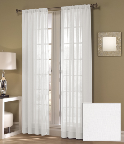 Sheer lily window curtains in white