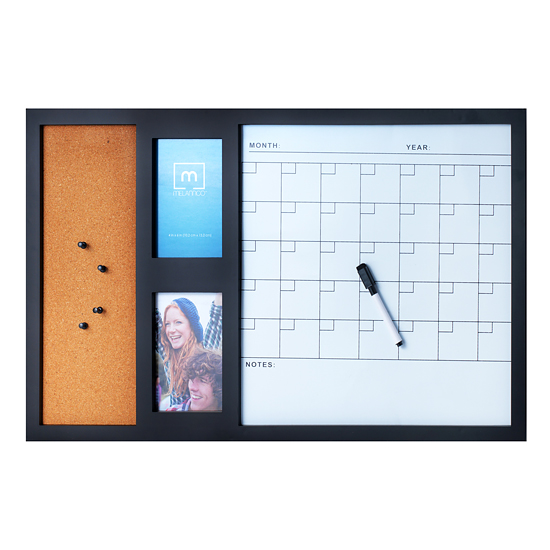 19.99 for Melannco Command Black Calendar White Board with Two Photo ...