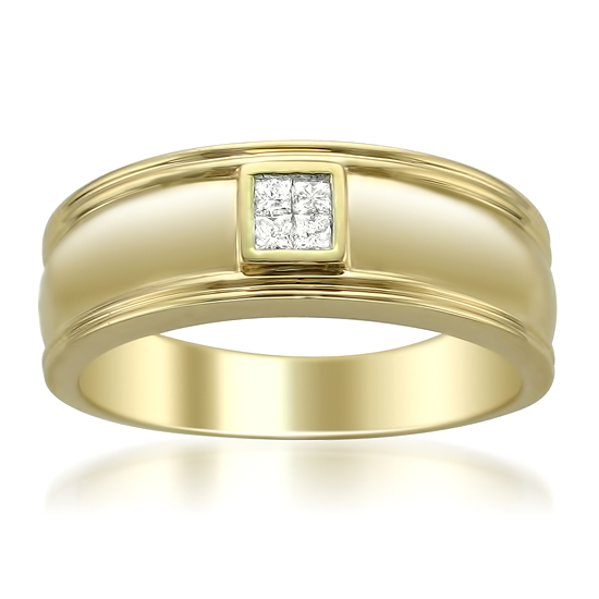 Men S 14 Karat Gold And Diamond Wedding Bands
