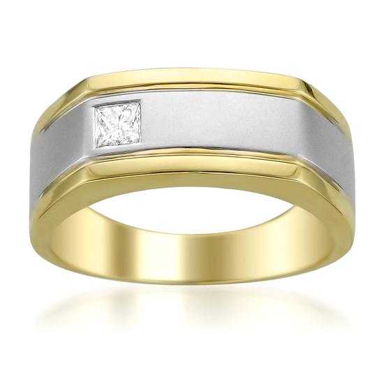 Men 39 S 14 Karat Gold And Diamond Wedding Bands