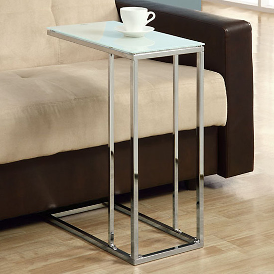 Nice Chrome Metal Table With Tempered Glass Top
