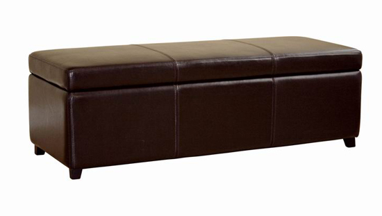 ... Full-Leather Storage-Bench Ottoman with Stitching ($439 List Price