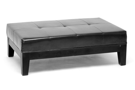 $288.99 for Jonathan Black Large Full-Leather Cocktail Ottoman ($788.98  List Price) - Baxton Studio Leather Storage And Bench Ottomans
